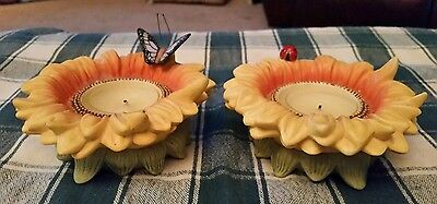PartyLite Sunflower Buddies Votive/TeaLight Candle Holders w/LadyBug & Butterfly