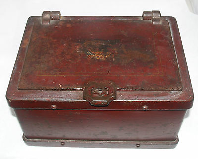 Antique Cast Iron Strong Box Safe Railroad Train Stage Coach Eagle Decorated