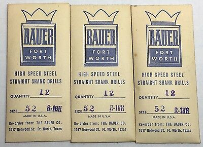 BAUER High-Speed Steel Straight Shank Drills Size No.52 (.0635) R-18H Lot Of 36
