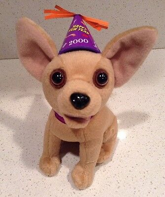 Taco Bell Chihuahua Dog Talking Happy New Year Amigos! Plush New 2000 Party Hat
