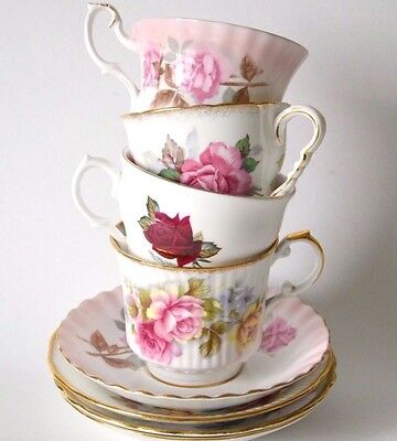 4 Vintage mixed tea cups saucers roses teacups tea sets floral shabby wedding
