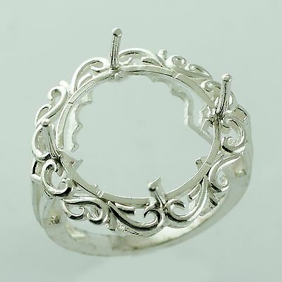 Round Shape Ring Semi Mount 16.50 MM 925 Silver Top Occasion Lady Gift Jewelry