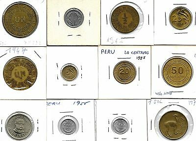 Peru Collection Of 12 Coins