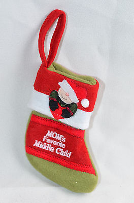 Mom's Favorite Middle Child Mini Christmas Stocking Ornament new