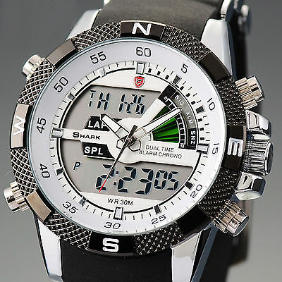 Military LCD Day Date Analog Army Stainless Steel Sport Quartz Mens Wrist Watch