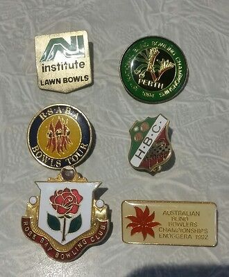 6× Collectable  Bowls Club Badges