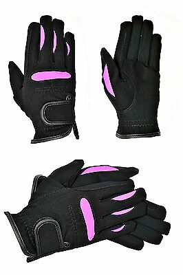 Riders Trend Women's Stretchable Domy Suede Equestrian Gloves - XS, Black/Purple