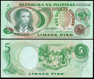 Philippines 5 PISO Sign 9 ND 1978 P 160b UNC