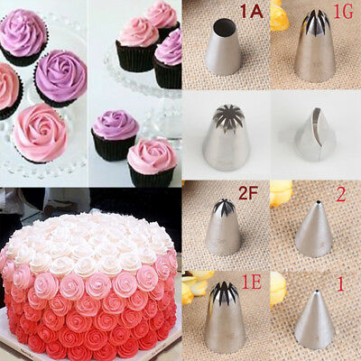 Icing Piping Flower Tips Nozzles Cupcake Pastry Decor Baking Tool Stainless Stee