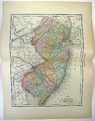 Original 1895 Map of New Jersey by Rand McNally