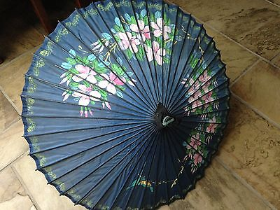 Stunning Japanese Hand painted Silk and Wooden Parasol