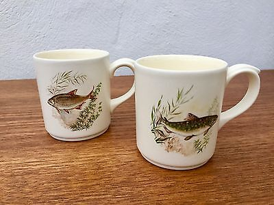 A Pair of Poole Pottery Mugs with fish - Fishing Anglers Freshwater