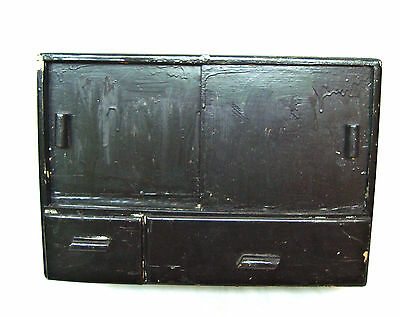 Vintage wood medicine chest Apothecary wall mounted cabinet Handmade 50s