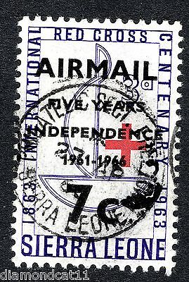 1966 Sierra Leone 7c AIRMAIL OPTD on 3d SG 393 Fine USED R26502
