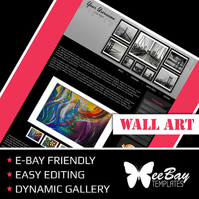 BEST Professional eBay Listing Auction Template Custom WALL ART 85b HTML Design