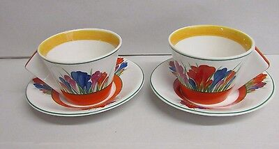 Vintage Bradex Clarice Cliff Bizarre Crocus Pattern - 2 X Tea Cups & Saucers