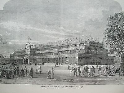 Antique Print C1875 Exterior Of The Great Exhibition Of 1851 London Engraving
