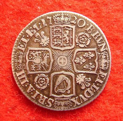 George I ~ 1720 Roses & Plumes Shilling, scarce type. about VF