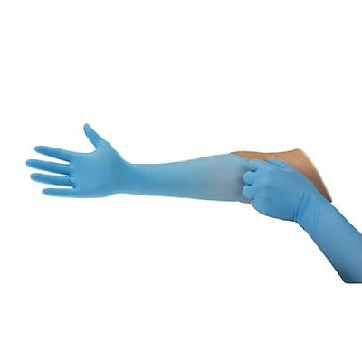Ansell Microflex 16 inch Long Forearm Protection Blue Nitrile Disposable Gloves
