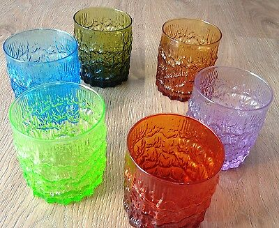 Early Whitefriars Multi Coloured Whisky Glasses Set of 6 - Perfect