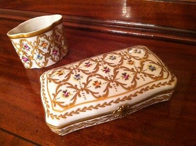 Beautiful Limoges France Hinged Trinket Box and pot holder.