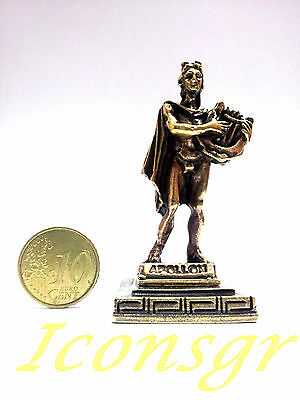 Ancient Statue Apollo Greek Miniature Olympian God Pantheon Sculpture Zamac Gold