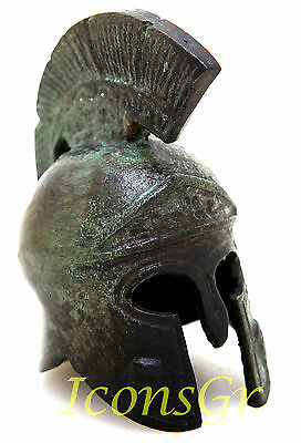 Battle Helmet Owl Crest Bronze Ancient Greek Museum Replica Vintage Miniature