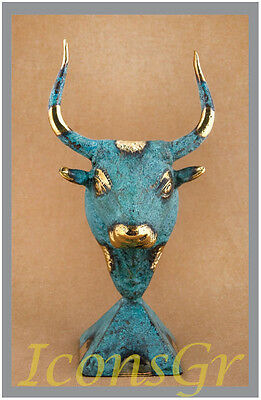 Statue Cretan Minoan Bull Bronze Ancient Greek Museum Replica  Collectable