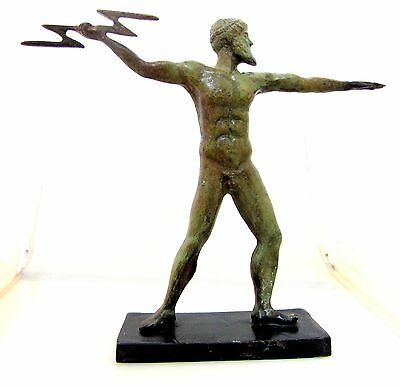 Ancient Greek Olympian God Pantheon Sculpture Statue Bronze Zeus King Of Gods