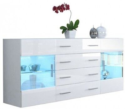 Large Cabinet Cupboard High Gloss Sideboard Chest Of Drawer Storage Display New