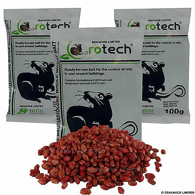 3 x 100g Rotech Bromadiolone Whole Wheat Grain Poison - Rat Killer Control Bait