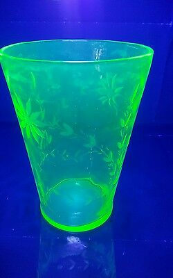 large green Vaseline flower etched glass vase