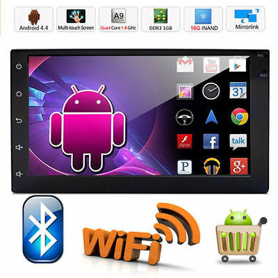 """Quad Core Android 4.4 3G WIFI 7""""Double 2DIN Car Radio Stereo DVD Player GPS Nav"""