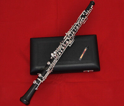 Professional Ebony Wooden Oboe C Key Silver Plated With Wood Case