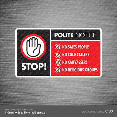 Stop Cold Calling Door Sticker Religious Groups No Canvassers Callers Sign