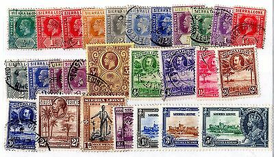 Sierra Leone KGV Collection of 26 Values Mint/VFU X5507
