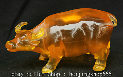 7''China Man Made Amber Stand Fengshui 12 Zodiac Year Bull Oxen Strong Sculpture