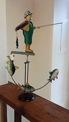 Tin Metal Balance Toy Antiqued, Hand Painted Fisherman and Fish