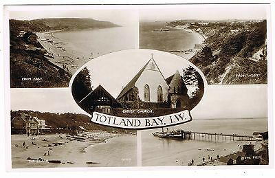 Real Photo Multiview Postcard - Totland Bay Isle of Wight - Pier & Steam Ship ++