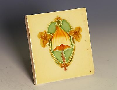 Original art nouveau set of 5 glazed ceramic tiles mushroom design