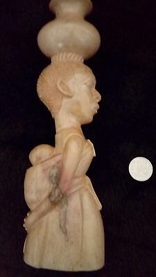 African carved soapstone mother and baby candlestick