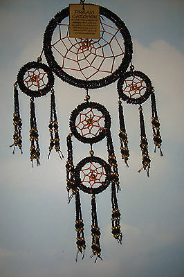 Delicate Handmade Beautiful  Beaded Triple Dreamcatcher~Black & Gold~uk seller