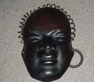 Stylish, vintage, patinated metal Hagenauer style head, made in Austria