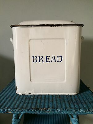 LARGE VINTAGE 1930s 1940s WHITE ENAMEL BREAD BOX TIN BIN 40x35x27cm