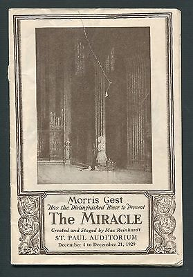 Vintage Theater Program THE MIRACLE Morris Gest St. Paul Auditorium 1929