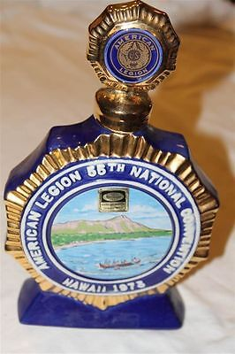 1973 VINTAGE EZRA BROOKS AMERICAN LEGION 55th DECANTER HERITAGE CHINA 24KT GOLD