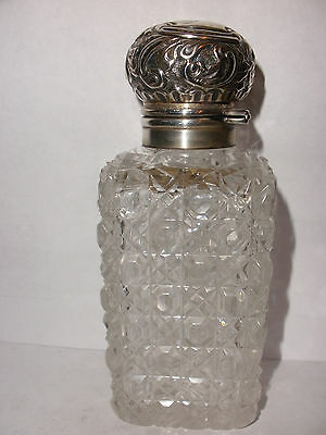 Antique English Sterling Silver Crystal Perfume scent Bottle Duncan & Scobbie