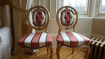 Pair of Antique Gold Painted Side / Hall Chairs