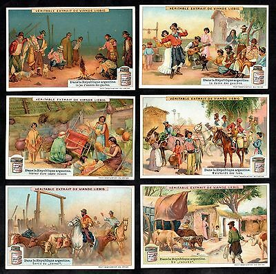 Republic of Argentina Card Set 1909 Liebig Gauchos Cattle Ranch Dance Horses Cow
