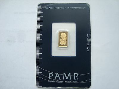 Pamp Swiss Made 1G Fine Gold 999.9  With Certificate Number